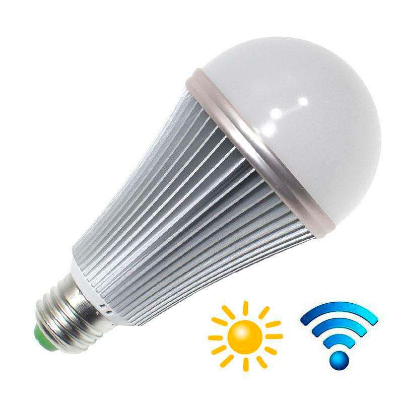 Bombilla LED E27, 12W, chip Samsung, Sensor movimiento y luminosidad, Blanco neutro